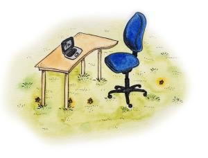 Desk in field