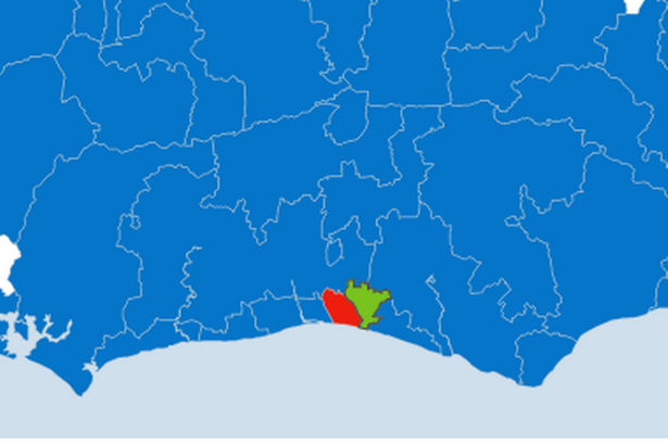 Welcome to the People's Republic of Brighton and Hove - that's the red (Labour) and green (Green) bits there, folks.